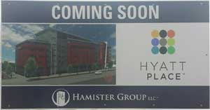 """All that sits at the site years after Hamister was approved for his hotel is a sign saying """"coming soon""""."""