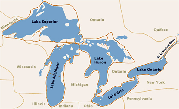 The Great Lakes have the greatest concentration of fresh water