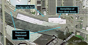 The more historic section of the Terminal can be easily imagined as a public market – similar to the St. Lawrence Market in Toronto – and operated privately to ensure good management.  Demolishing the train shed annex that the NFTA built to store equipment will allow for the restoration of the historic street grid, and with it three riverfront blocks ripe for development. Restoring the old street grid will make the entire cobblestone district more attractive for development, with a more distinctly waterfront feel.  Repurposing underutilized NFTA waterfront train yards into a bustling mixed-use commercial district that pays property taxes is a win all around. It's a win for real estate interests, the city coffers, urban design, tourism, and job creation.