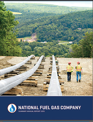 The cover of National Fuel Gas' 2015 annual report shows a pipeline running directly into a scenic rural town and two helmeted workers walking along it for perspective.