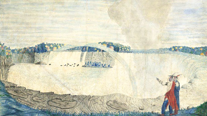 """The British government banned the export of this small watercolor, """"An East View of the Great Cataract of Niagara,"""" by an anonymous North American buyer who won it at a Christie's London auction. Painted in 1767 by Capt. Thomas Davies, it was deemed an essential part of Britain's cultural heritage."""