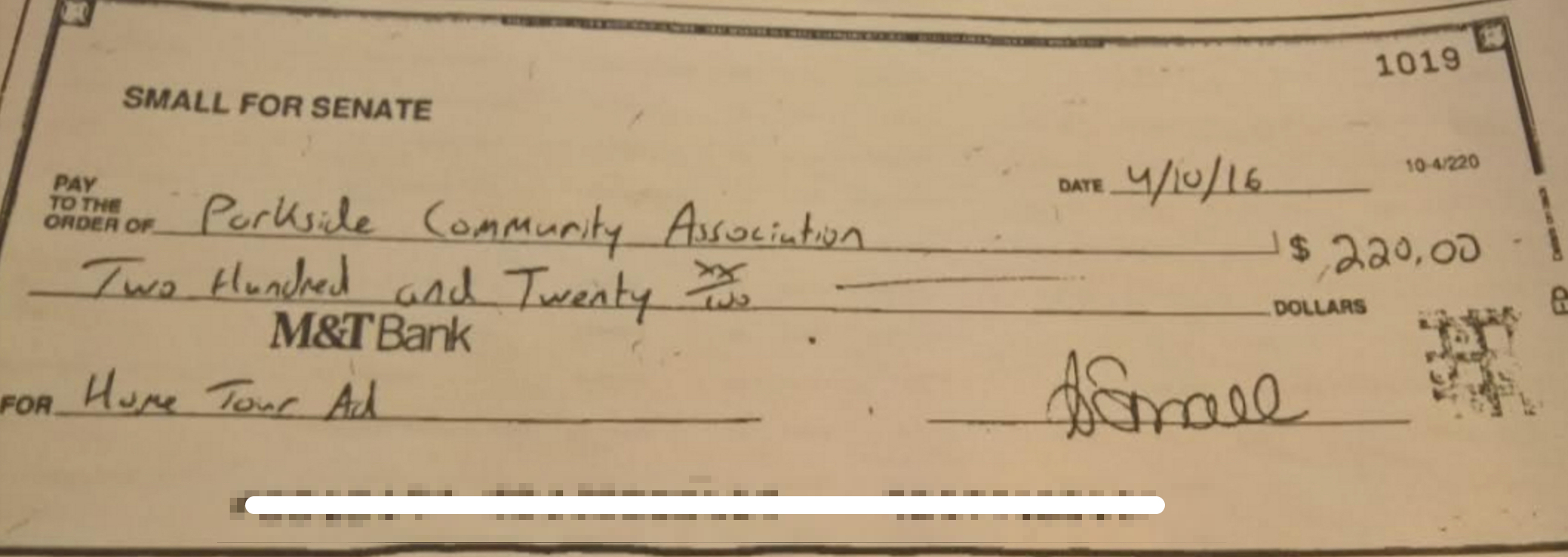 The Small campaign provided an image of what appears to be a check, which they claim was to purchase an advertisement from the Parkside Community Association. This publication has no way of independently verifying the authenticity of the image.