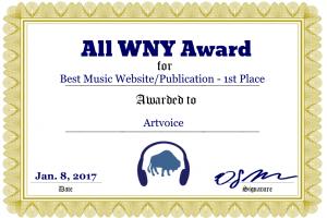 Artvoice Voted Best Music Website/Publication in All Western York
