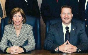 Alderwoman Schwandt with then Mayor Rob Ortt. He went on to Albany as the State Senator replacing the retiring George Maziarz. Schwandt goes on to the Albany-controlled NYPA.