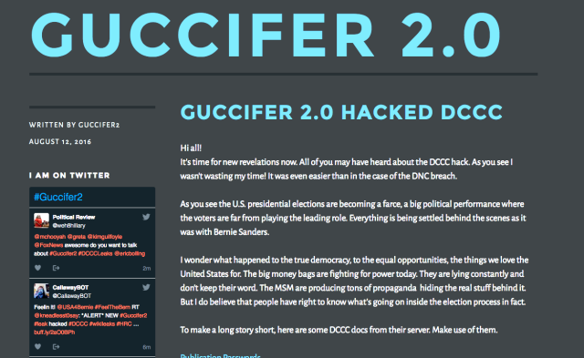 An online entity, calling itself Guccifer 2.0 claimed to be responsible for the hacking of the DNC and other democrat targets.